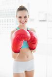 Sporty smiling woman boxing Royalty Free Stock Photos