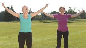 Sporty sprawności fizycznych damy grżą up w parku zbiory wideo