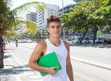 Sporty student outside in the city Royalty Free Stock Images