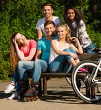 Sporty teenage friends in a park Stock Photos