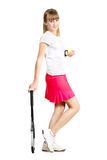 Sporty teenage  girl tennis racket t Stock Photo
