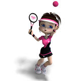 Sporty toon girl in pink clothes plays tennis. 3D rendering with clipping path and shadow over white Royalty Free Stock Photos