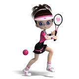Sporty toon girl in pink clothes plays tennis. 3D rendering with clipping path and shadow over white Royalty Free Stock Images