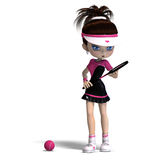 Sporty toon girl in pink clothes plays tennis. 3D Stock Photography
