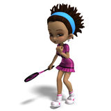 Sporty toon girl in pink clothes plays tennis. 3D Royalty Free Stock Photo