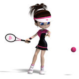 Sporty toon girl in pink clothes plays tennis. 3D. Rendering with clipping path and shadow over white Royalty Free Stock Photography