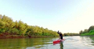 Sporty wiosłuje na kajaku Mężczyzna pławiki zestrzelają rzekę wzdłuż drewna zbiory wideo