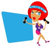 Sporty woman. Gym fitness woman sport lady emblem, sticker header card stock illustration