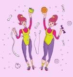 Sporty woman. Healthy life sport woman diet, lifestyle icon cartoon illustration vector illustration