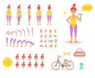 Sporty woman for animation. Poses front, rear, side, three quarter. Creation set. Collection of emotions. Vector. Cartoon. Isolated art on white background Stock Photography