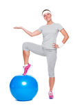 Sporty woman with ball Royalty Free Stock Photos