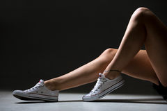 Sporty woman beautiful legs Royalty Free Stock Image