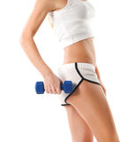 Sporty woman with blue barbells Royalty Free Stock Photos