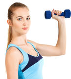 Sporty woman with blue barbells Royalty Free Stock Photography