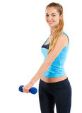 Sporty woman with blue barbells Royalty Free Stock Images