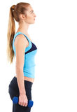 Sporty woman with blue barbells Royalty Free Stock Photo