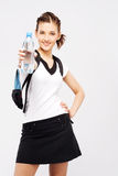 Sporty woman with a bottle of fresh water stock images