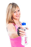 Sporty woman with bottle of water Stock Photo