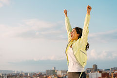 Sporty woman celebrating success in sport and freedom Royalty Free Stock Photography