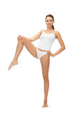 Sporty woman in cotton undrewear royalty free stock photos