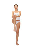 Sporty woman in cotton undrewear stock images
