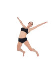 Sporty woman dancing isolated on white background Stock Photos