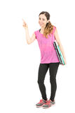 Sporty woman on diet showing text space Royalty Free Stock Image
