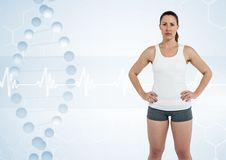 Sporty woman with dna chain Royalty Free Stock Photo