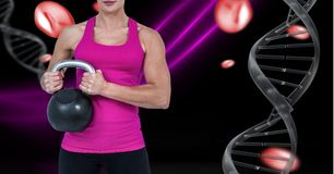 Sporty woman with dna chain and pink lights and black background Stock Photos