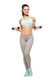 Sporty woman do her workout with dumbbells Royalty Free Stock Photography