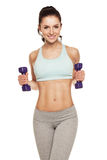 Sporty woman do her workout with dumbbells Stock Photography