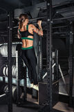 Sporty woman doing lifting up. On the gym stock image