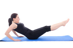 Sporty woman doing strength exercises for abdominal muscles isol. Ated on white background Stock Photo