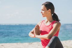 Sporty woman doing yoga meditation Royalty Free Stock Images