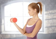 Sporty woman with dumbbell Stock Photo