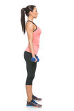 Sporty woman with dumbbells Stock Photos