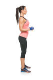 Sporty woman with dumbbells Stock Images