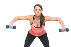 Sporty woman with dumbbells Stock Image