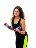 Sporty woman with dumbbells Stock Photography
