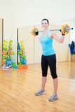 Sporty woman exercising with barbell in gym Royalty Free Stock Photos