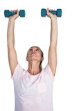 Sporty woman exercising with dumbbells Royalty Free Stock Photos