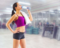 Sporty woman at fitness club Stock Image