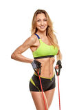 Sporty woman with fitness tape Stock Photo