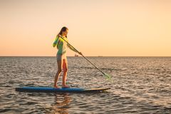 Sporty woman floating at stand up paddle board with colorful sunset colors. Sporty woman floating at stand up paddle board with colorful sunset stock images