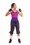 Sporty woman gesturing a  win symbol Royalty Free Stock Photography