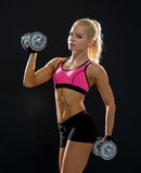 Sporty woman with heavy steel dumbbells Royalty Free Stock Images