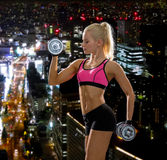 Sporty woman with heavy steel dumbbells Stock Photography