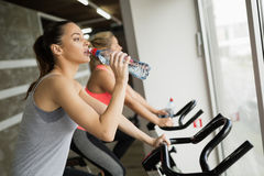 Sporty woman hydrating during workout. Sporty women hydrating during workout in gym stock image