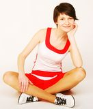 sporty woman isolated on white background Royalty Free Stock Images