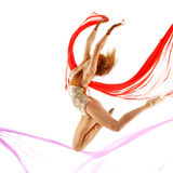 Sporty woman jumping Royalty Free Stock Photos